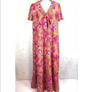 Vintage 60s 70s Caftan Dress Handmade M L XL 1X 2X